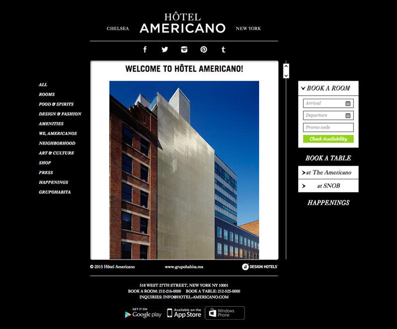 Hotel americano 3 horizons interactive for Hotel americano nyc